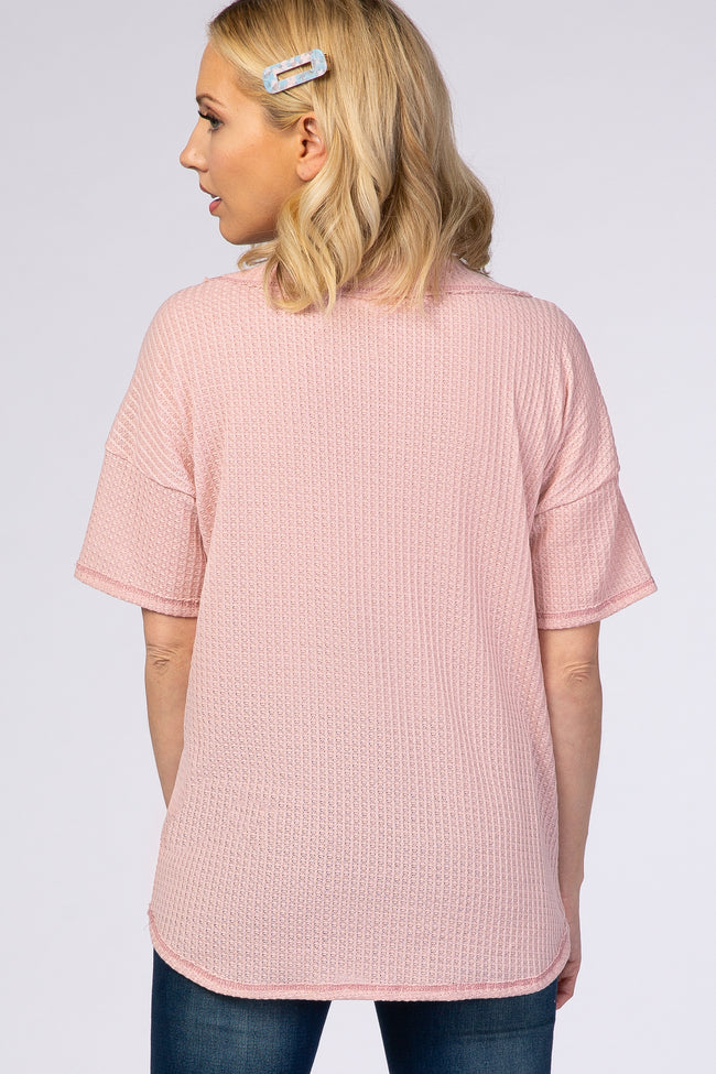 Pink V-Neck Textured Short Sleeve T-Shirt