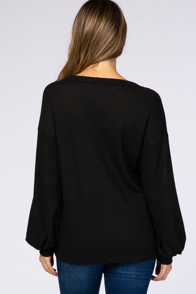 Black Waffle Knit Bubble Sleeve Button Detail Maternity Top