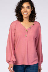 Mauve Waffle Knit Bubble Sleeve Button Detail Top
