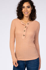 Peach Long Sleeve Round Neck Button Down Maternity Top