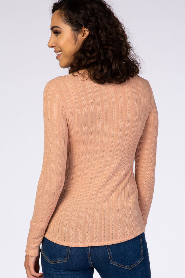 Peach Long Sleeve Round Neck Button Down Top