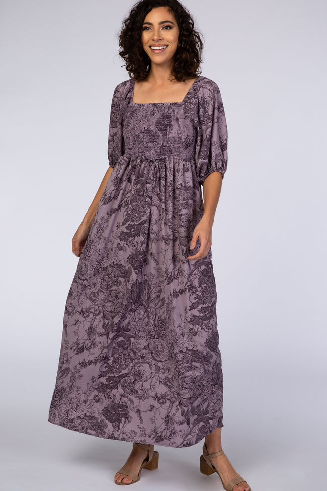 Purple Floral 3/4 Sleeve Square Neck Smocked Maxi Dress