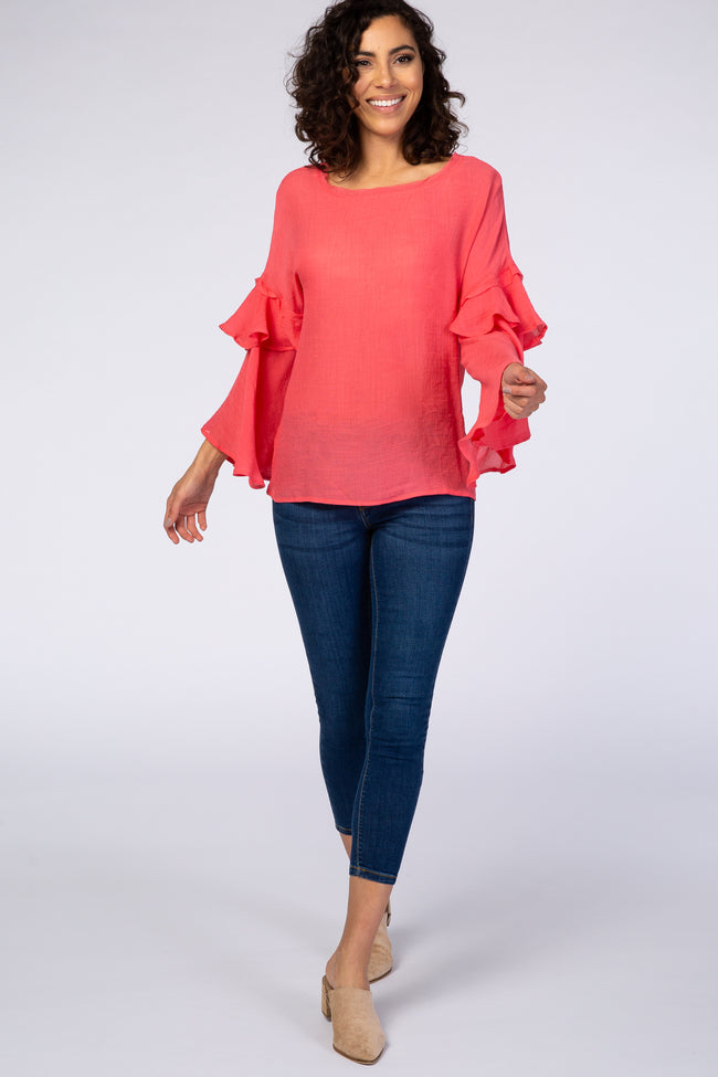 Coral Layered Bell Sleeve Blouse