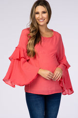 Coral Layered Bell Sleeve Maternity Blouse