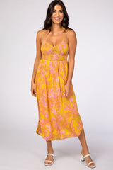 Yellow Floral Sweetheart Maternity Maxi Dress