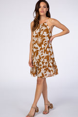 Camel Floral Halter Neck Maternity Mini Dress