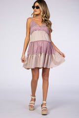 Mauve Floral Ruffle Maternity Dress