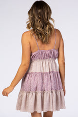Mauve Floral Ruffle Dress
