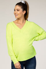 Waverleigh Neon Yellow Knit V-Neck Maternity Sweater