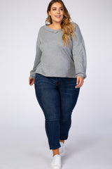 Heather Grey Knit V-Neck Plus Top