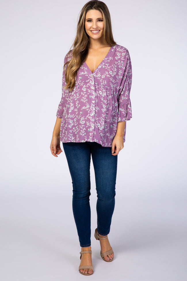 Lavender Floral Button Front Maternity Top