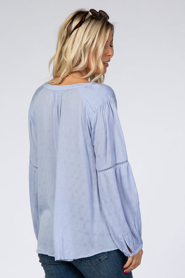 Light Blue Puff Sleeve V-Neck Blouse