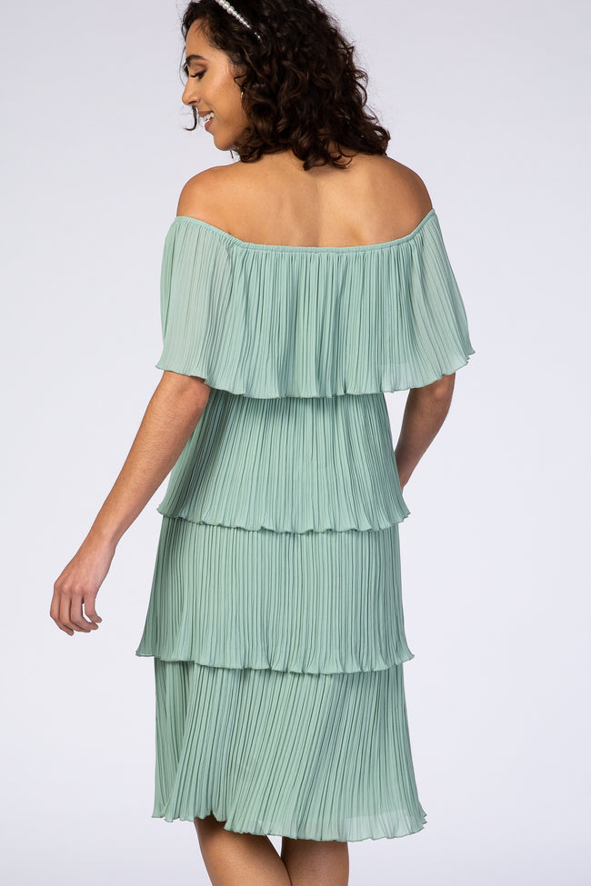 Waverleigh Mint Green Pleated Off Shoulder Tiered Dress