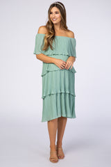 Waverleigh Mint Green Pleated Off Shoulder Tiered Maternity Dress