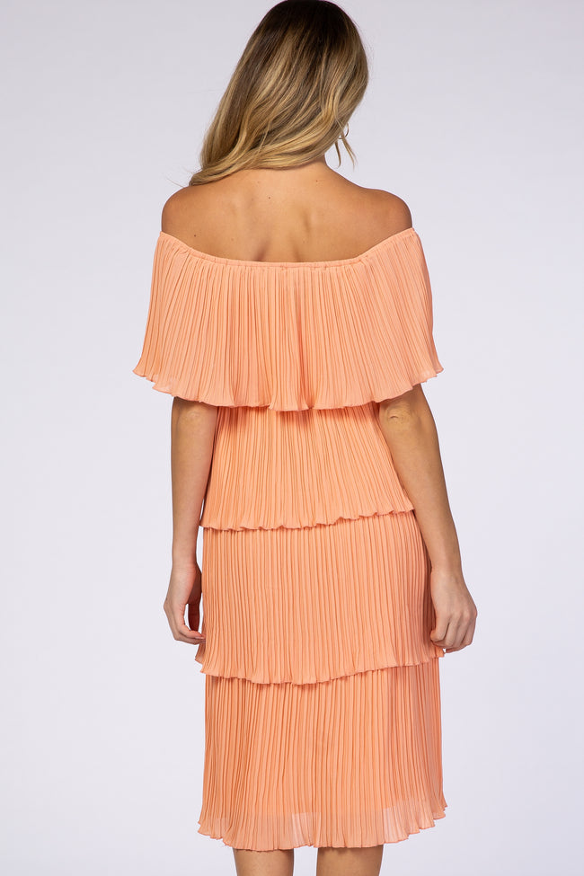 Peach Pleated Off Shoulder Tiered Maternity Dress