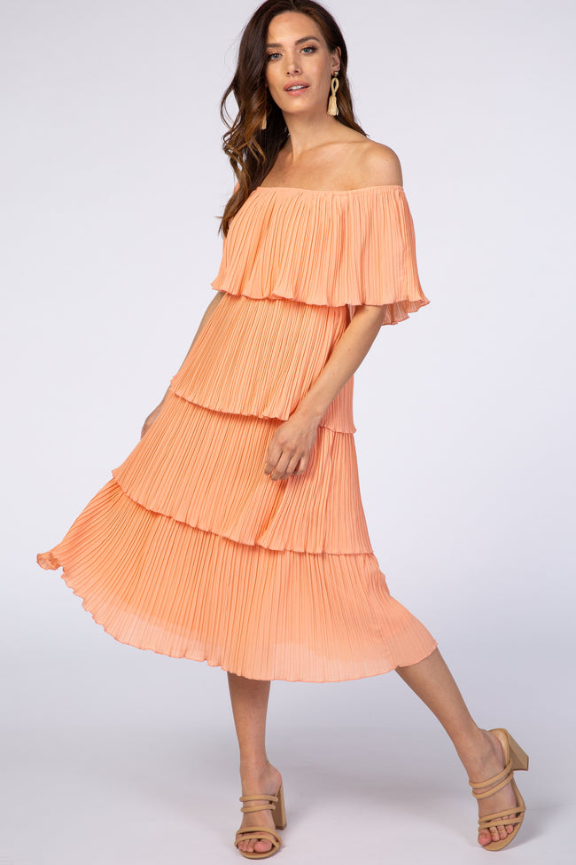 Peach Pleated Off Shoulder Tiered Dress