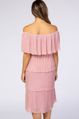 Waverleigh Light Pink Pleated Off Shoulder Tiered Maternity Dress