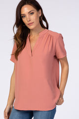 Salmon Short Sleeve V-Neck Blouse