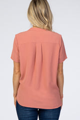 Salmon Short Sleeve V-Neck Maternity Blouse