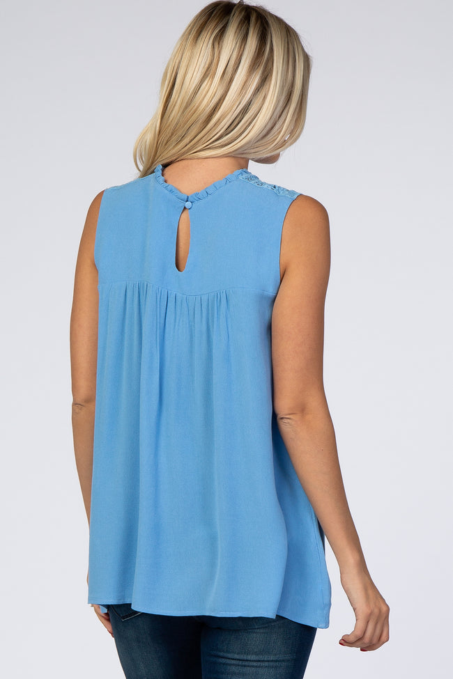 Light Blue Crochet Neckline Sleeveless Top