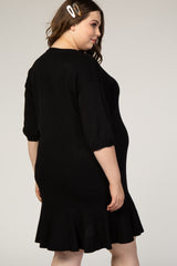 Black 3/4 Sleeve Ruffle Hem Knit Plus Maternity Dress
