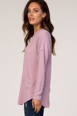 Lavender Textured Long Sleeve Drop Shoulder Round Neck Top