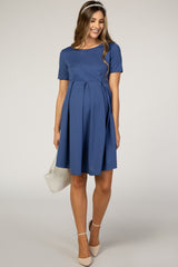 Blue Short Sleeve Front Pleat Maternity Dress
