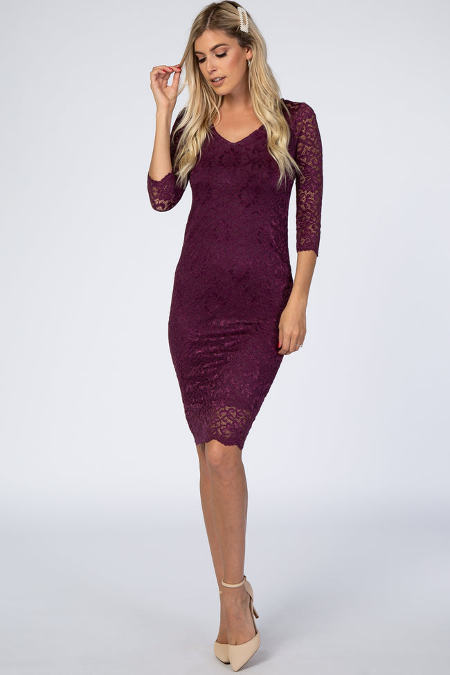 Purple 3/4 Sleeve Lace Floral Maternity Dress