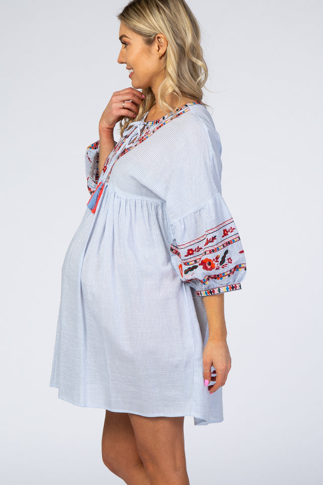 Blue Striped Embroidered Maternity Dress