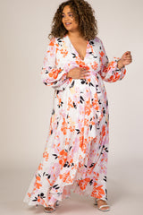 White Floral Puff Sleeve Hi-Low Plus Maternity Maxi Dress