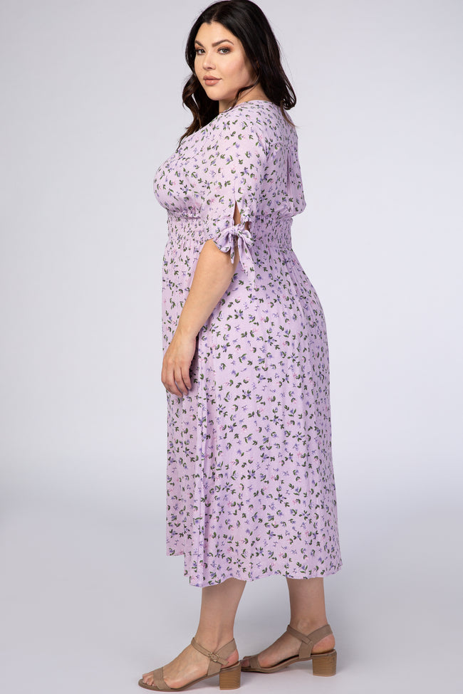 Lavender Floral Tie Sleeve Plus Midi Dress