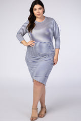Blue Striped Ruched Plus Midi Dress
