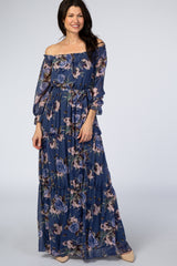 Blue Floral Off Shoulder Maxi Dress