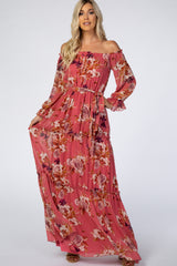 Mauve Floral Off Shoulder Maxi Dress