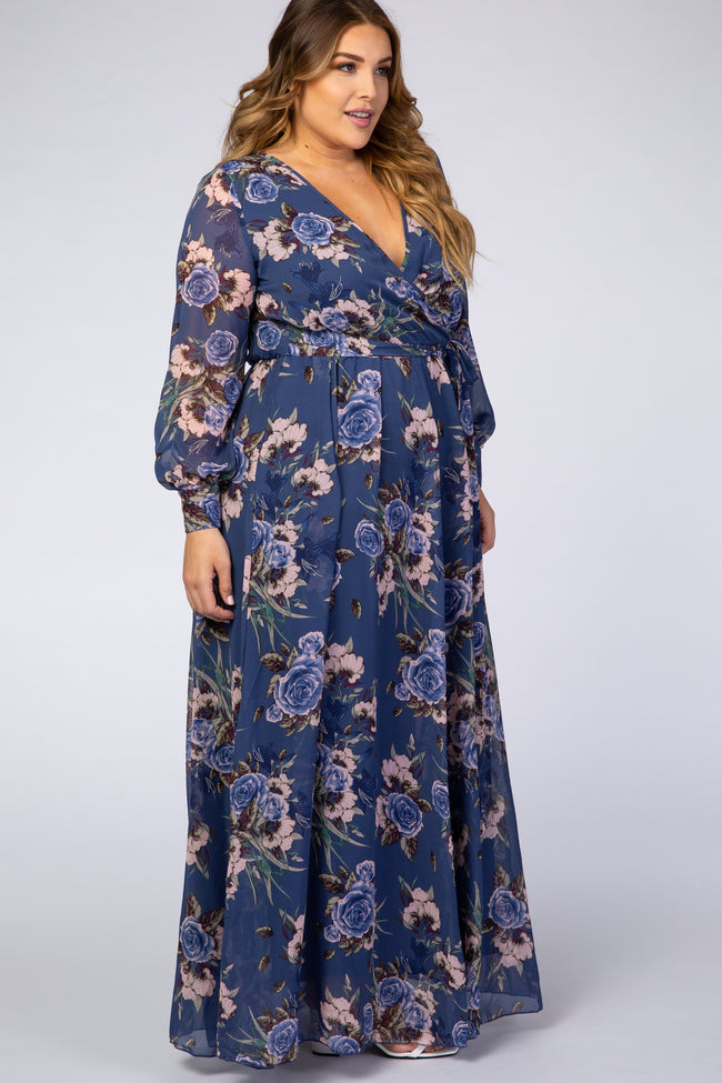 Navy Blue Floral Chiffon Plus Maxi Dress