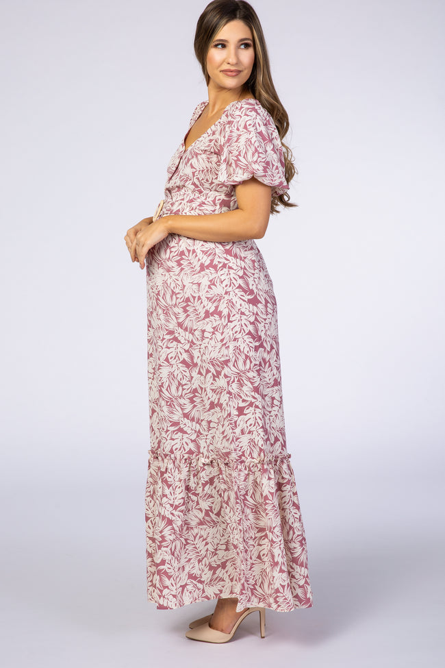 Mauve Leaf Print Belted Maternity Maxi Dress