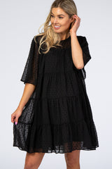 Black Swiss Dot Tiered Maternity Dress