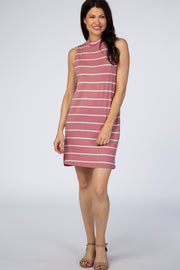 Mauve Striped Mock Neck Dress