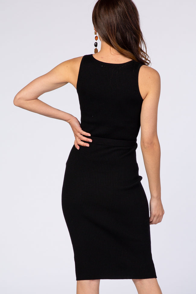 Black Sleeveless Ribbed Belted V-Neck Knit Dress