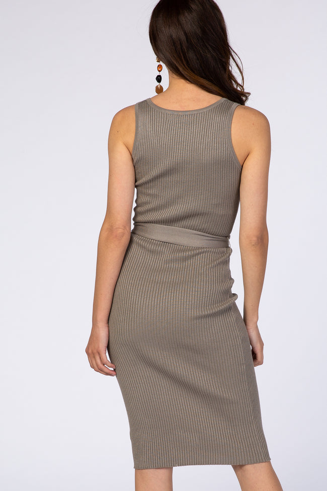 Grey Sleeveless Ribbed Belted V-Neck Knit Dress