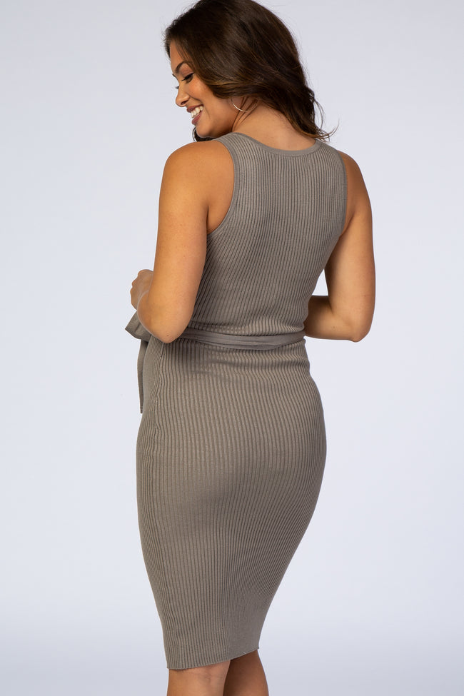 Waverleigh Grey Sleeveless Ribbed Belted V-Neck Knit Maternity Dress