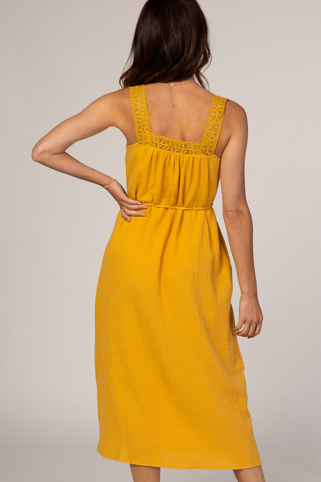 Yellow Square Neck Lace Strap Midi Dress