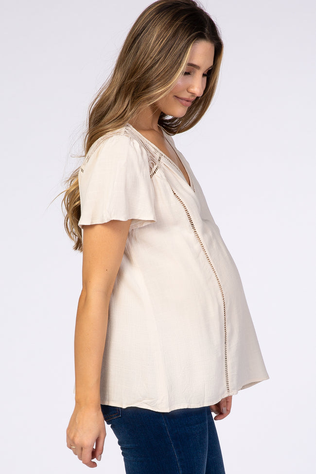 Ivory Short Sleeve Lace Cutout Maternity Top