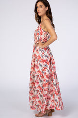 Blush Floral Halter Neck Maxi Dress