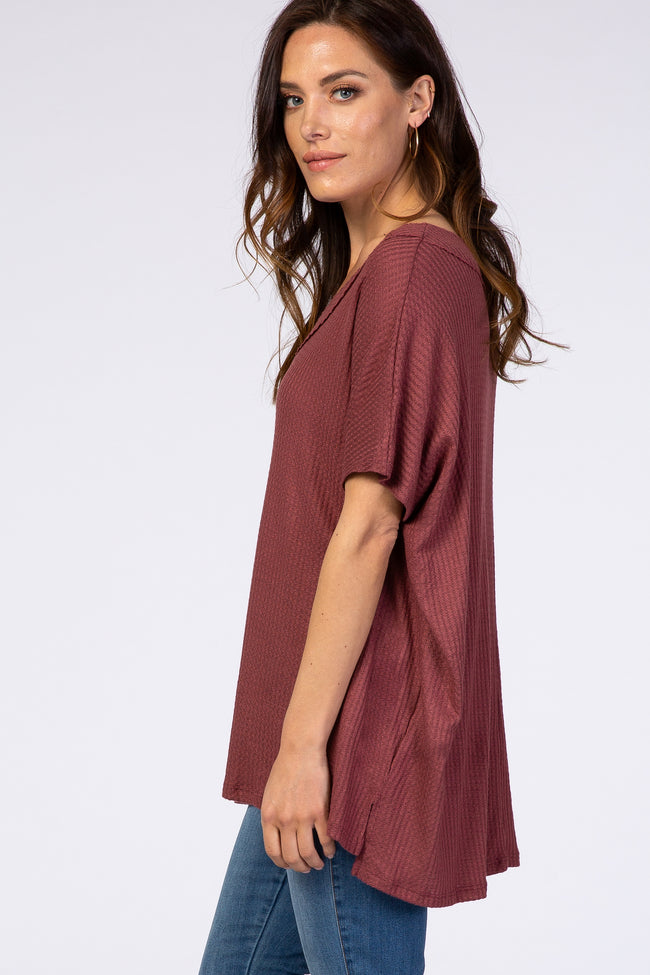 Rust Waffle Knit V-Neck Top