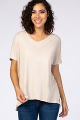 Cream Waffle Knit V-Neck Maternity Top