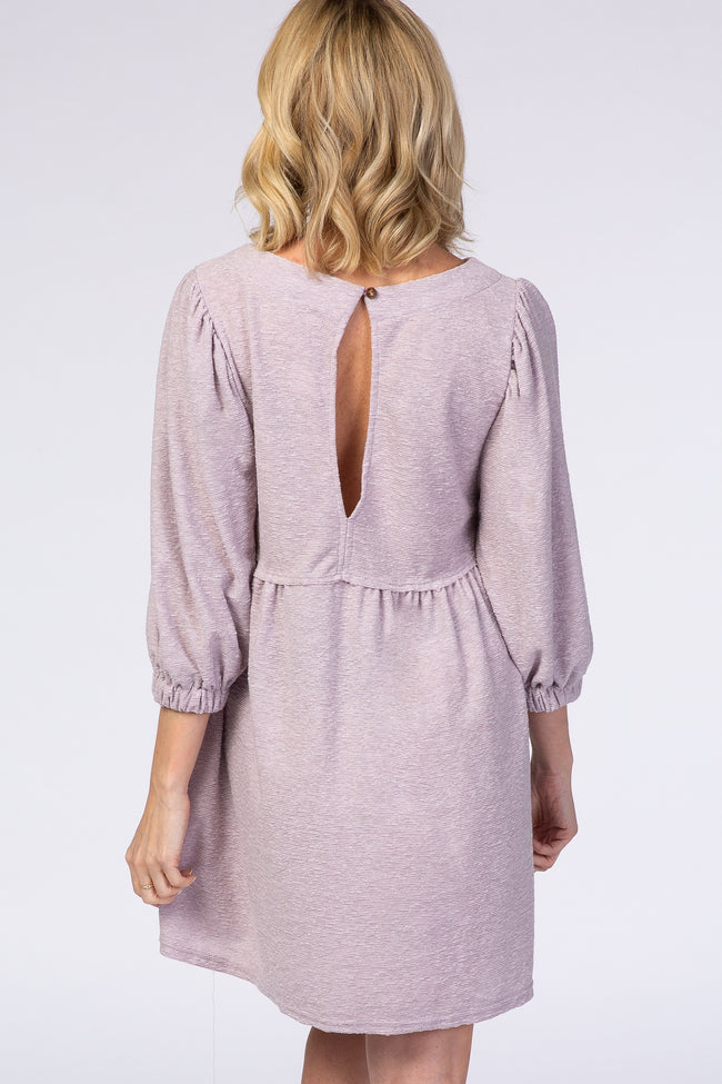 Lavender 3/4 Cinched Sleeve Baby Doll Dress