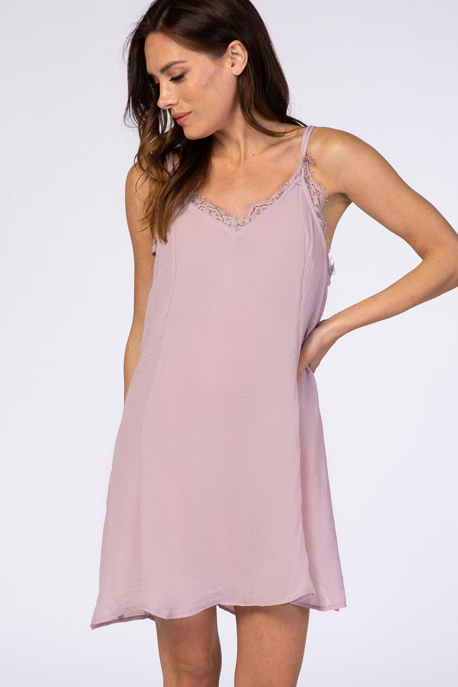 Pink Lace Trim Double Strap Maternity Night Gown