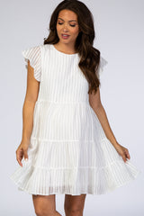 Waverleigh White Striped Pleated Flutter Sleeve Maternity Dress