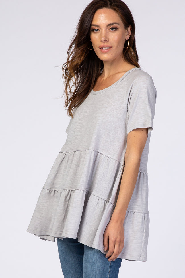 Heather Grey Wide Neck Short Sleeve Tiered Maternity Top